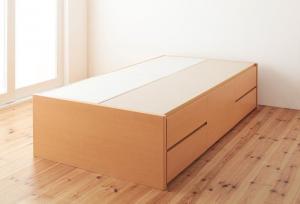 組立設置付 日本製_ヘッドレス大容量コンパクトチェストベッド Creacion クリージョン ベッドフレームのみ セミシングル ショート丈