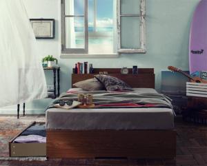 棚・コンセント付き収納ベッド Arcadia アーケディア プレミアムポケットコイルマットレス付き 床板仕様 シングル