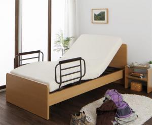 お客様組立 シンプル電動ベッド ラクティータ ウレタンマットレス付き 2モーター シングル