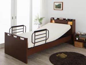 組立設置付 棚・照明・コンセント付き電動ベッド ラクライト ウレタンマットレス付き 1モーター シングル