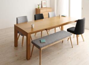 北欧デザインエクステンションダイニング Fier フィーア 6点セット(テーブル+チェア4脚+ベンチ1脚) W145-205