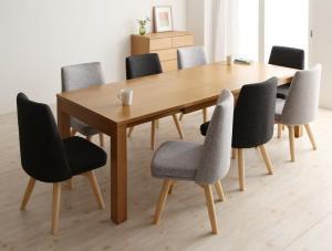 北欧デザインエクステンションダイニング Fier フィーア 9点セット(テーブル+チェア8脚) W145-205