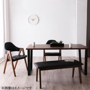 天然木ウォールナットモダンデザインダイニング Wyrd ヴィールド 4点セット(テーブル+チェア2脚+ベンチ1脚) W150