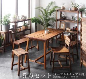 ルームガーデンファニチャーシリーズ Pflanze プフランツェ 5点セット(テーブル+チェア4脚) W120