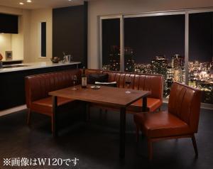 ウォールナット モダンデザインリビングダイニングセット YORKS ヨークス 4点セット(テーブル+ソファ1脚+アームソファ1脚+チェア1脚) 左アーム W150