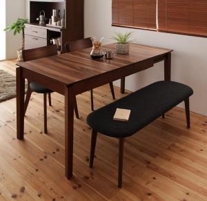 天然木ウォールナットエクステンションダイニング Nouvelle ヌーベル 4点セット(テーブル+チェア2脚+ベンチ1脚) W120-180
