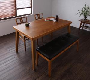 天然木北欧ヴィンテージスタイルダイニング LEWIS ルイス 4点セット(テーブル+チェア2脚+ベンチ1脚) W135