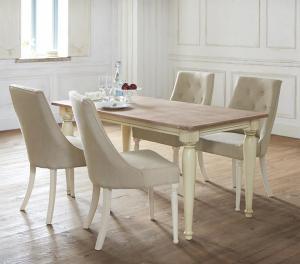 フレンチシック シャビーデザインダイニング cynar チナール 5点セット(テーブル+チェア4脚) W150