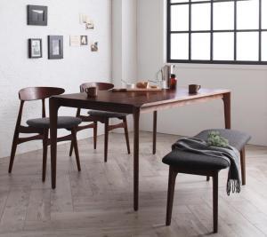 北欧デザイナーズダイニングセット Spremate シュプリメイト 4点セット(テーブル+チェア2脚+ベンチ1脚) W150
