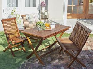 チーク天然木 折りたたみ式本格派リビングガーデンファニチャー mosso モッソ 4点セット(テーブル+チェア2脚+ベンチ1脚) チェア肘有 W120