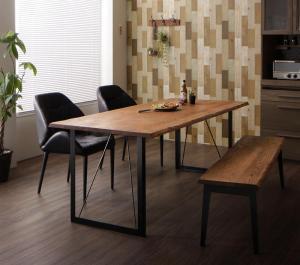 アメリカンオーク無垢材ヴィンテージデザインダイニング Pittsburgh ピッツバーグ 4点セット(テーブル+チェア2脚+ベンチ1脚) W180