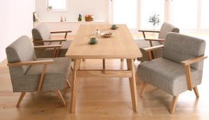 天然木北欧スタイル ソファダイニング Milka ミルカ 5点セット(テーブル+チェア4脚) W160