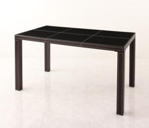 イタリアンモダンデザイン クロスステッチレザーガラスダイニング VALLONE ヴァローネ ダイニングテーブル W135