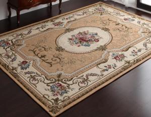 イタリア製ジャガード織りクラシックデザインラグ Gragioso Rosa グラジオーソ ローザ 85×150cm