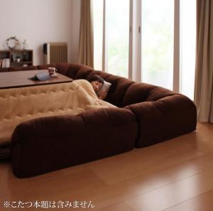 こたつに合わせるフロアコーナーソファ コの字 マット部分サイズ 190×190cm 厚さ40mm