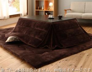 ふんわりなめらか防ダニフランネル 「ダブルで暖か」省スペースこたつ掛け敷き布団2点セット 長方形(75×105cm)天板対応