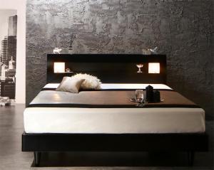 モダンライト・コンセント付きすのこベッド Letizia レティーツァ ポケットコイルマットレスハード付き ダブル