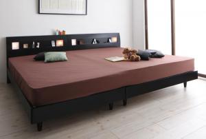 棚・コンセント・ライト付きデザインすのこベッド ALUTERIA アルテリア スタンダードポケットコイルマットレス付き ワイドK240(S+D)