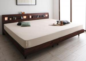 棚・コンセント・ライト付きデザインすのこベッド ALUTERIA アルテリア プレミアムボンネルコイルマットレス付き ワイドK200