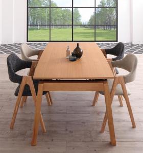 天然木オーク材 スライド伸縮式ダイニングセット MALIA マリア 5点セット(テーブル+チェア4脚) W140-240