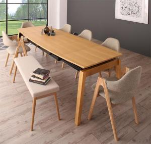 天然木オーク材 スライド伸縮式ダイニングセット MALIA マリア 8点セット(テーブル+チェア6脚+ベンチ1脚) W140-240