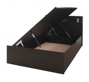 組立設置付 モダンライトガス圧式跳ね上げ収納ベッド Lunalight ルナライト ベッドフレームのみ 横開き シングル 深さレギュラー