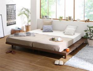 デザインボードベッド Bibury ビブリー プレミアムポケットコイルマットレス付き 木脚タイプ ステージ ダブル フレーム幅160
