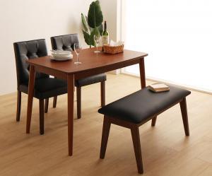 さっと拭ける PVCレザーダイニング fassio ファシオ 4点セット(テーブル+チェア2脚+ベンチ1脚) W115