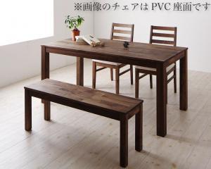 総無垢材ワイドダイニング Cursus クルスス 4点セット(テーブル+チェア2脚+ベンチ1脚) ウォールナット 板座 W160