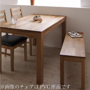 総無垢材ワイドダイニング Cursus クルスス 4点セット(テーブル+チェア2脚+ベンチ1脚) オーク 板座 W160