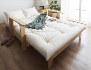 敷布団で楽しむ伸縮型天然木すのこソファベッド Dueto ドゥエート 布団セット 幅140cm