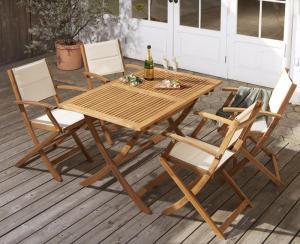 アカシア天然木 折りたたみ式ナチュラルガーデンファニチャー Relat リラト 5点セット(テーブル+チェア4脚) チェア肘付き W120