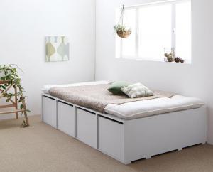 布団で寝られる大容量収納ベッド Semper センペール 薄型スタンダードボンネルコイルマットレス付き 引出し4杯 ハイタイプ セミダブル