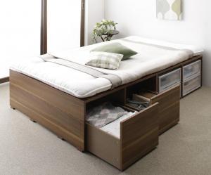 布団で寝られる大容量収納ベッド Semper センペール 薄型プレミアムポケットコイルマットレス付き 引出し2杯 ハイタイプ セミダブル
