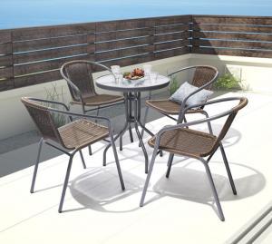 ラタン調リゾートガーデンファニチャー Rashar ラシャル 5点セット(テーブル+チェア4脚) W60