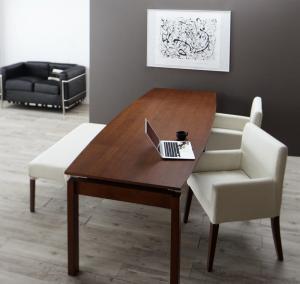 ウォールナット材 伸縮式 モダンデザインダイニング MADAX マダックス 4点セット(テーブル+チェア2脚+ベンチ1脚) W140-240