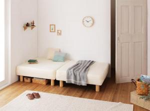 ショート丈分割式 脚付きマットレスベッド 国産ポケット マットレスベッド セミシングル ショート丈 脚7cm