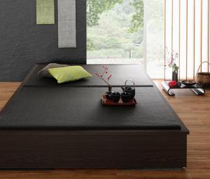 お客様組立 美草・日本製 小上がりにもなるモダンデザイン畳収納ベッド 花水木 ハナミズキ ワイド 40mm厚 ダブル