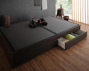 組立設置付 美草・日本製 小上がりにもなるモダンデザイン畳収納ベッド 花水木 ハナミズキ ワイド 40mm厚 セミダブル