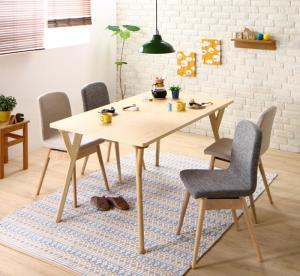 やさしい色合いの北欧スタイル ソファベンチ ダイニング Peony ピアニー 5点セット(テーブル+チェア4脚) W140