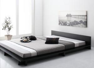 ギュンター Gunther シンプルモダンデザインフロアローステージベッド シングル マルチラススーパースプリングマットレス付き