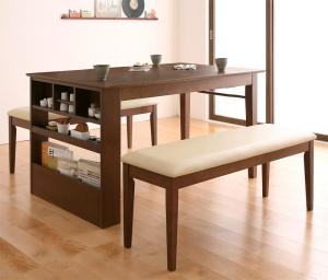 ベンチが収納できる 省スペースエクステンションダイニング flein フラン 3点セット(テーブル+ベンチ2脚) W135-170