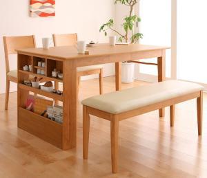 ベンチが収納できる 省スペースエクステンションダイニング flein フラン 4点セット(テーブル+チェア2脚+ベンチ1脚) W135-170