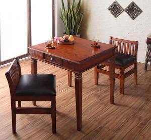 天然木マホガニー材アンティーク調アジアンダイニングシリーズ RADOM ラドム 3点セット(テーブル+チェア2脚) W80