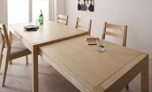 無段階で広がる スライド伸縮テーブル ダイニングセット AdJust アジャスト ダイニングテーブル W120-200