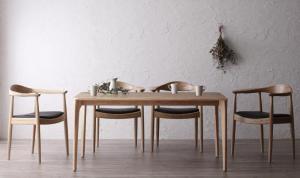 天然木オーク無垢材 北欧デザイナーズ ダイニングセット C.K. シーケー 5点セット(テーブル+チェア4脚) W150