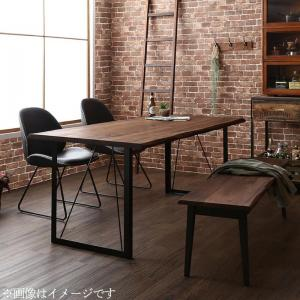 天然木ウォールナット無垢材ヴィンテージデザインダイニング Detroit デトロイト 4点セット(テーブル+チェア2脚+ベンチ1脚) ベンチ2P W150