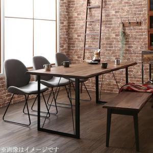 天然木ウォールナット無垢材ヴィンテージデザインダイニング Detroit デトロイト 6点セット(テーブル+チェア4脚+ベンチ1脚) ベンチ2P W180