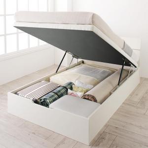 お客様組立 ホワイトデザイン大容量収納跳ね上げベッド WEISEL ヴァイゼル 薄型スタンダードポケットコイルマットレス付き 縦開き セミシングル 深さレギュラー
