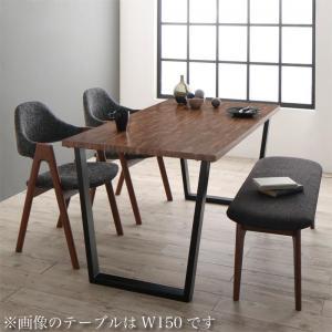 古木風×スチール脚ナチュラルモダンデザインダイニング FOLKIS フォーキス 4点セット(テーブル+チェア2脚+ベンチ1脚) WBR W120